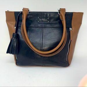 Tignanello Purse Shoulder Leather Brown Black